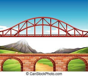 parete, ponte, sopra