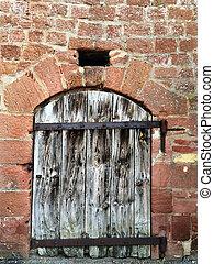 parete, porta legno, medievale