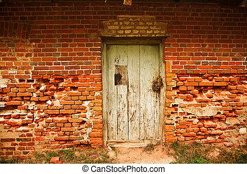 parete, porta, mattone, vecchio