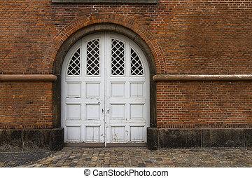 parete, porta, mattone, vecchio, bianco