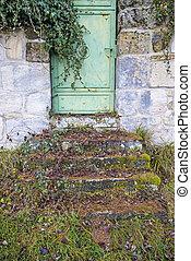 parete, porta, medievale, abbazia, vecchio