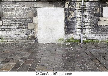 parete, porta, vecchio, rovinato