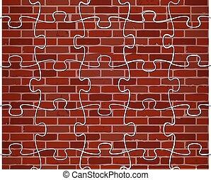 parete, puzzle, colorito, mattone, illustrazione