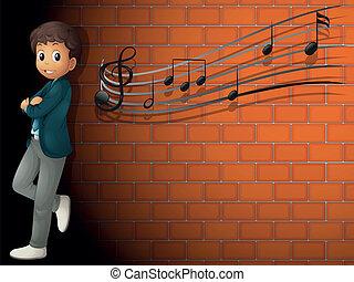 parete, ragazzo, note, musicale, standing