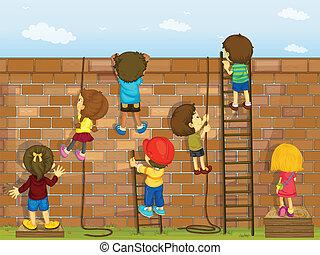 parete, rampicante, bambini