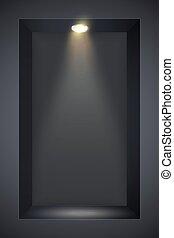 parete, riflettore, nero, nicchia