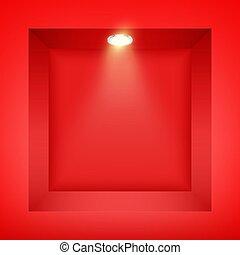 parete rossa, riflettore, nicchia