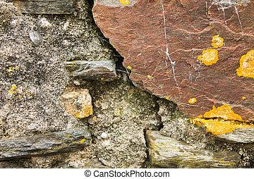 parete, rustico, pietra, dettaglio