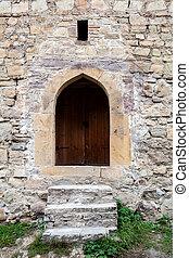 parete, scale, pietra, porta