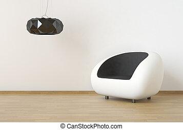 parete, scena, disegno, pulito, interno, nero, bianco, mobilia