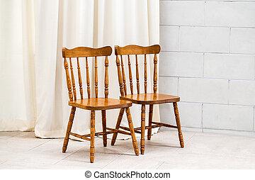 parete, sedia, bianco, due