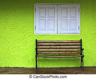 parete, sedia, legno, sfondo verde