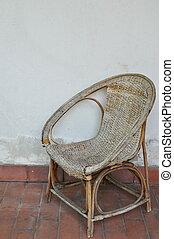 parete, sedia, malacca, bianco