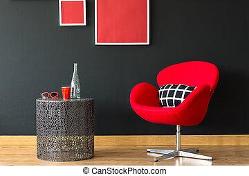 parete, sedia, nero