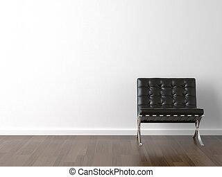 parete, sedia, nero, bianco
