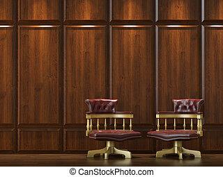 parete, sedie, cladding