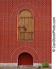 parete, solitario, porta, rosso