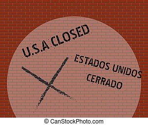 parete, stati uniti, chiuso, messico