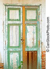 parete, vecchio, mattone, porta