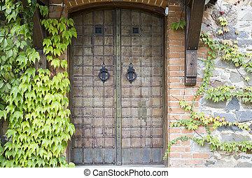parete, vecchio, pietra, porta
