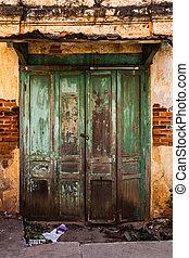 parete, vendemmia, vecchio, porta, mattone