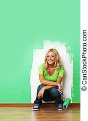 parete, vernice, donna