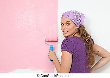 parete, vivaio, decorare, donna, pittura