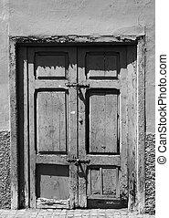pareti, porta, pannelli, sbucciatura, vecchio, casa, rotto, legno, chiudere, lanciato, abbandonato, fesso, circondare