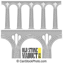 pari, enorme, pietra, antico, visible., mattoni, viaduct., alto, più piccolo, dettagli, bridge., constructed