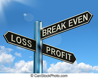 pari, perdita, profitto, signpost, o, rottura, guadagni, investimento, utili, mostra