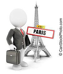 parigi, bianco, 3d, persone