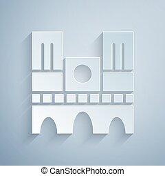 parigi, carta, punto di riferimento, taglio, style., arte, dama, vettore, de, icona, isolato, notre, grigio, francia, fondo.