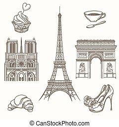 parigi, disegnato, vettore, simboli, mano