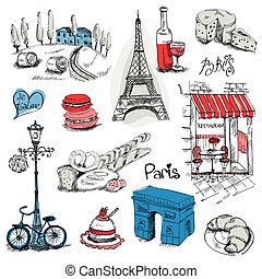 parigi, disegno, set, -, illustrazione