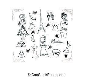 parigi, doodles, moda, set
