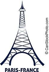 parigi, eiffel, francia, vettore, torre, icona