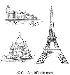 parigi, famoso, costruzioni, francia