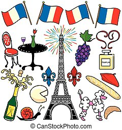 parigi francia, elementi, clipart, icone