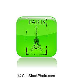 parigi, illustrazione, isolato, icona, vettore, singolo