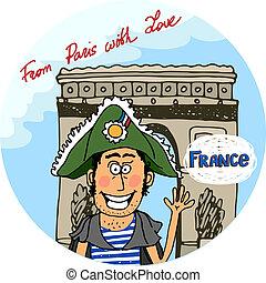 parigi, manifesto, vettore, disegno, amore