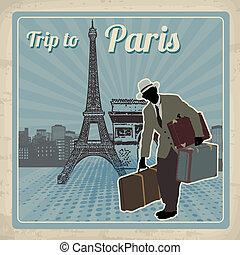 parigi, manifesto, viaggio, retro