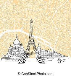 parigi, mappa, orizzonte, francia