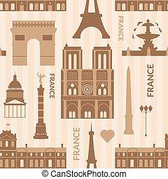 parigi, modello, limiti, seamless, monocromatico