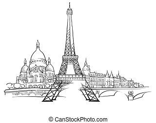 parigi, panorama, schizzo, francia