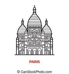parigi, punto di riferimento, vettore, illustrazione