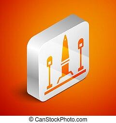 parigi, quadrato, arancia, argento, la, vettore, concorde, de, posto, icona, isolato, isometrico, button., francia, fondo.