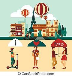 parigi, set, turistico