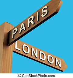 parigi, signpost, indicazione, londra, o