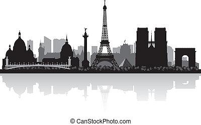 parigi, skyline città, silhouette, francia