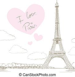 parigi, torre, eiffel, amore